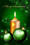 Christmas green background. Vector Christmas green background with candle Royalty Free Stock Photography