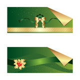 Christmas green banner. Christmas green and golden banner Royalty Free Stock Image