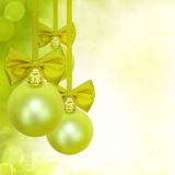 Christmas green baubles decoration Stock Photos