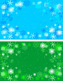 Christmas green and blue backgrounds. Winter background with snowflakes Stock Images