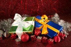 Christmas green and blue gifts Stock Photo