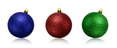 Christmas green, blue and red balls or baubles isolated white background stock photos