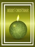 Christmas green card with candle and text Stock Images