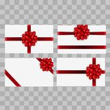 Christmas green card or invitation with red bow and ribbon. Vector Stock Photo