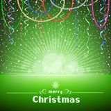 Christmas green card with light and snow around Stock Photos
