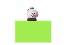 Christmas green card with snowman. Isolated on white background Stock Images