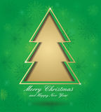 Christmas green card with tree. Formed from paper. Christmas postcard with seamless ornament, for your design Royalty Free Stock Photos