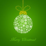 Christmas green card with white ball consisted of snowflakes Stock Photography