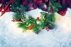 Christmas Green Decorative Wreath Holly Berries royalty free stock photos