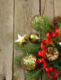 Christmas green fir tree  branches with beautiful decorations Stock Photos