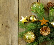Christmas green fir tree  branches with beautiful decorations Stock Image