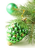 Christmas green fir tree  branches with decorations Stock Photo