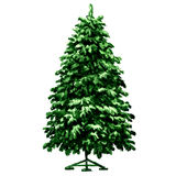 Christmas green fir tree on metal stand isolated, watercolor illustration. On white background Stock Images