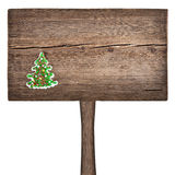 Christmas green fir tree on a wooden board Stock Images
