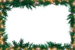 Christmas Green Framework. Decoration Element. Holiday Fir Branches Frame Ornament with Copyspace stock photos