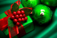 Christmas green gift box Royalty Free Stock Image