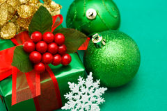 Christmas green gift box Stock Photos