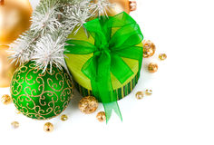 Christmas green gift with firtree branch Stock Photo