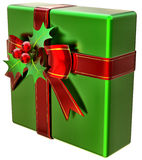 Christmas green gift with red ribbon and bow Stock Images