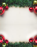 Christmas Green Grass on Blank Space of Old Paper with Balls and Stock Images