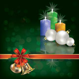 Christmas green greeting with candles Royalty Free Stock Photos