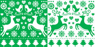 Christmas green greetings card pattern with reindeer - folk art style. Retro style red Xmas or winter pattern - cute, happy background Stock Image