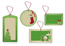 Christmas green labels eco paper Royalty Free Stock Images