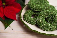 Christmas green mint cookies - colorful shaped cookies  on old p Stock Image