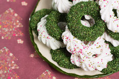 Christmas green mint cookies - colorful shaped cookies  on old p Stock Photography