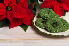 Christmas green mint cookies - colorful shaped cookies  on old p Royalty Free Stock Images