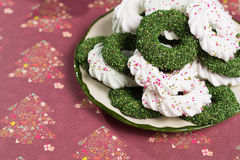 Christmas green mint cookies - colorful shaped cookies  on old p Stock Images