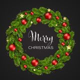 Christmas green Pine Branches and red baubles royalty free illustration