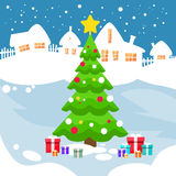 Christmas Green Pine Tree Snow House New Year Card Royalty Free Stock Photo
