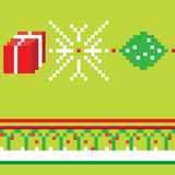 Christmas green pixel pattern. Christmas pixel seamless pattern, illustration of a composition with digital graphic motif Stock Images