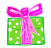 Christmas Green Present with Violet Bow Stock Images