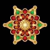 Christmas Green Red Gold Snowflake Jewelry. Stock Images