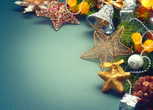 Christmas green retro styled background Stock Photography