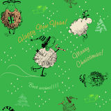 Christmas green seamless texture with sheep Royalty Free Stock Photo