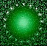 Christmas green snow frame Stock Photo