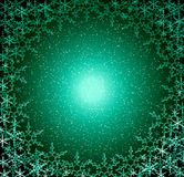 Christmas green snow frame royalty free stock image