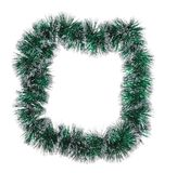 Christmas green tinsel as frame. Isolated on a white background stock photography