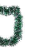 Christmas green tinsel as half frame. Stock Images