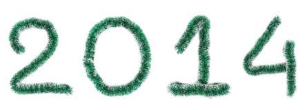 Christmas green tinsel of 2014 year. Stock Photos