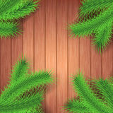 Christmas green tree branch over wooden surface Royalty Free Stock Photography