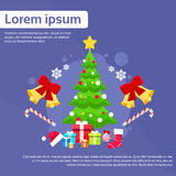 Christmas Green Tree With Gift Box Greeting Card. Decoration Happy New Year Banner Flat Vector Illustration Royalty Free Stock Image