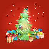 Christmas Green Tree With Gift Box Greeting Card Decoration Happy New Year Banner. Flat Vector Illustration Stock Photo
