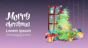 Christmas Green Tree With Gift Box Greeting Card Decoration Happy New Year Banner. Flat Vector Illustration Royalty Free Stock Photography