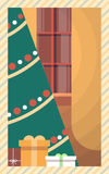 Christmas Green Tree With Gift Box Greeting Card Decoration Happy New Year Retro Poster. Flat Vector Illustration royalty free illustration