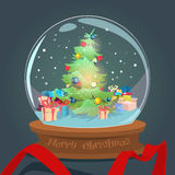 Christmas Green Tree With Gift Box Wish Glass Ball Greeting Card Happy New Year. Flat Vector Illustration Royalty Free Stock Photography