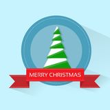 Christmas green tree greeting card with merry Stock Photos